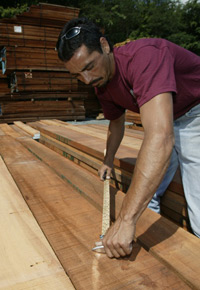 Picking lumber at J. Gibson McIlvain Lumber Company