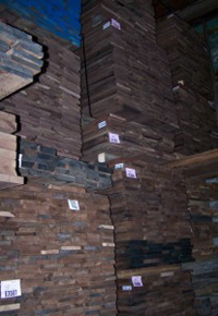 Stacks of Walnut lumber