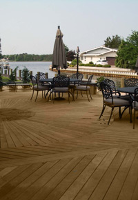 Natural wood deck made from Ipe