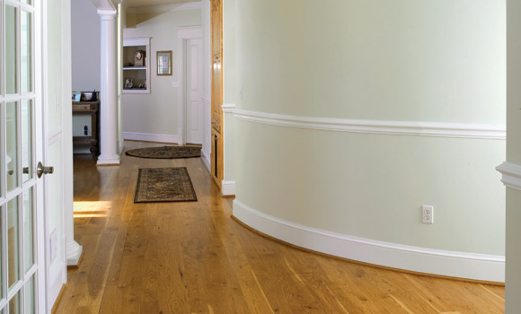curved hallway with rehmeyer pioneer hickory flooring