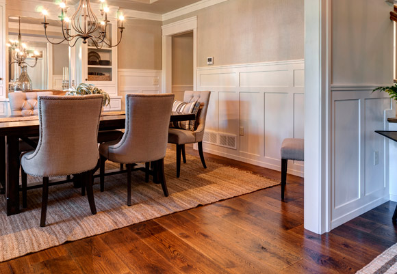 Pennsylvania Street of Dreams home dining room with Rehmeyer Flooring