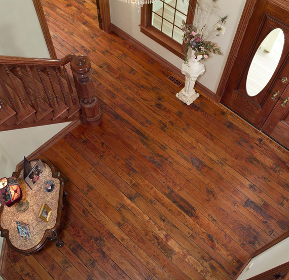 Rehmeyer Hand Scraped Cherry Flooring with antique finish and time worn square pegs